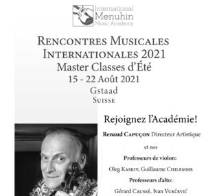Inscriptions aux Rencontres Musicales 2021