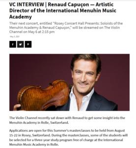 [PRESSE] Interview de Renaud Capuçon pour Violin Channel + Article presse du concert à Dubaï