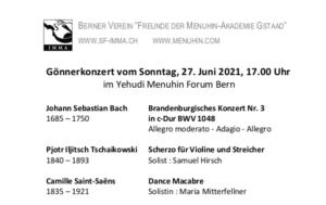 Concert des amis de Berne, dimanche 27 juin 2021 au Yehudi Menuhin forum, Berne